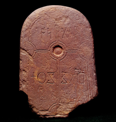 LINDISFARNE PRIORY Grave marker or name stone commemorating one Osgyth c.700 Anglo-Saxon